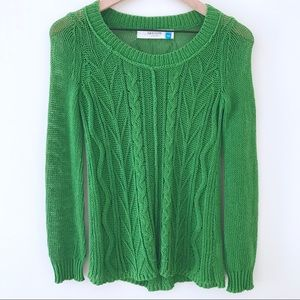 SPARROW Open Cable Knit Green Sweater